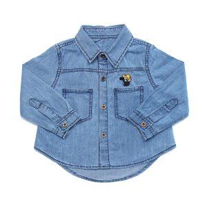 Áo Jeans bé trai dài tay thêu chữ Mamago LN19T
