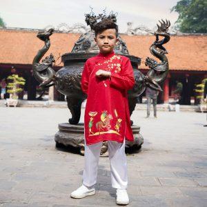 Bộ áo dài tết bé trai Mamago in hình đám cưới chuột M19D (Đỏ)