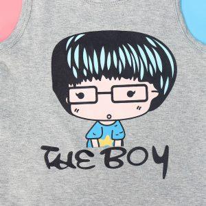 Bộ ba lỗ cho bé trai Mamago in chữ The Boy HT19 (xám)
